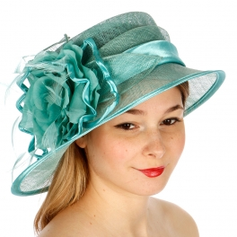 wholesale BX50 Large flower sinamay dress hat Mint