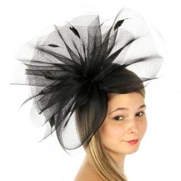 wholesale BX60 Horsehair fascinator w/ feathers Black
