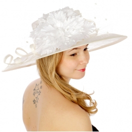 wholesale Flower tiny pompom sinamay hat White