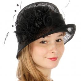wholesale BX90 Rosette flower sinamay cloche hat Black