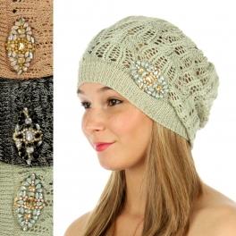 wholesale V14 Dozen Open-weave beanies embellishment