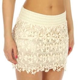 wholesale N00 Crochet Skirt Ivory fashionunic