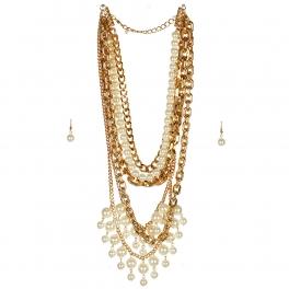 wholesale N42 Faux pearl multi strand necklace set GDCR