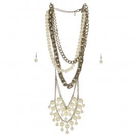wholesale N42 Faux pearl multi strand necklace set RHCR