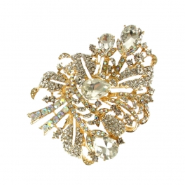Wholesale M05A Gold-tone studded brooch