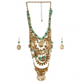 wholesale N33 Multi strand coin necklace set AGTQ