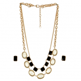 Wholesale L10 Oval and square necklace set GBK