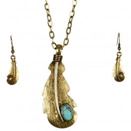 Wholesale L24 Big feather long necklace set GB