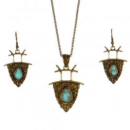 Wholesale L24 TQ stone accent long necklace set GB
