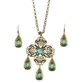 Wholesale L24 TQ accent tear drop necklace set GBSB