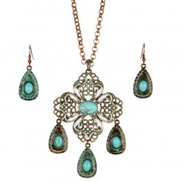 Wholesale L24 TQ accent tear drop necklace set OGSB