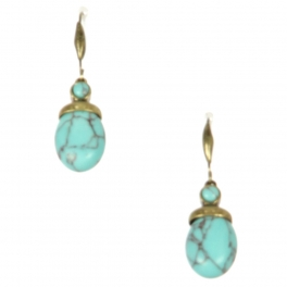 Wholesale L22 Turquoise ball metal earrings GB