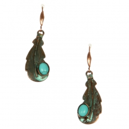 Wholesale L22 TQ accent leaf metal earrings OG