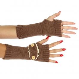 Wholesale R65 Knit button detail arm warmer Brown