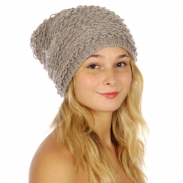 Wholesale BX00 Loose knit popcorn beanie Ivory