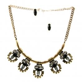 Wholesale L29 Colored stone metal necklace set RGBK