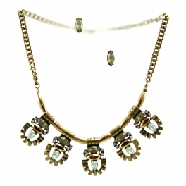 Wholesale L29 Colored stone metal necklace set RGBR