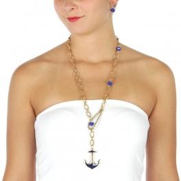 Wholesale L32 Long linked anchor necklace set AGBL