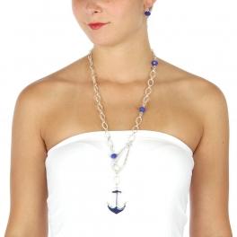 Wholesale L32 Long linked anchor necklace set ASBL