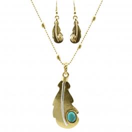 Wholesale L32 TQ accent leaf pendant necklace set WG