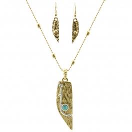 Wholesale L32 Metal feather necklace set WG