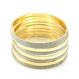 Wholesale L36 Diamond dusted mix bangle set RHODIUM