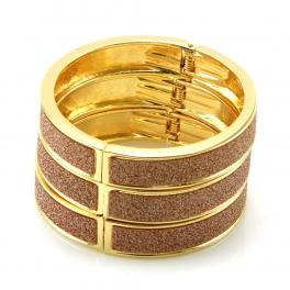 Wholesale L36 Three layer diamond dust bracelet GD/PK