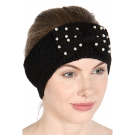 Wholesale W63 Faux pearl accent bow knit headband BK