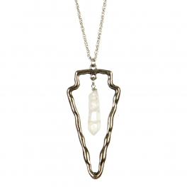 Wholesale L36B Doube layered cutout necklace B.SILVER