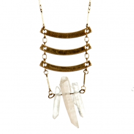 Wholesale L36B Metal bars with stone necklace B.GOLD