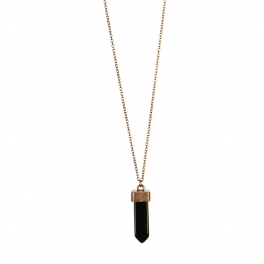 Wholesale L36A Thin chain with stone drop necklace BK