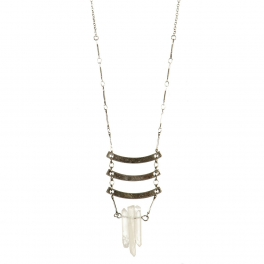 Wholesale L36B Metal bars with stone necklace B.SILVER