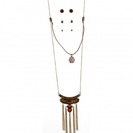 Wholesale L36C Stone accent with tassels necklace B.GD