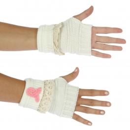 Wholesale N38 Crochet trim half finger gloves WT/PK