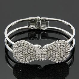 Wholesale L25D Faux diamond bow bracelet RHODIUM