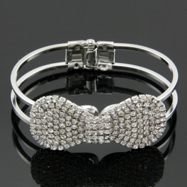 Wholesale L25D Faux diamond bow bracelet RHODIUM