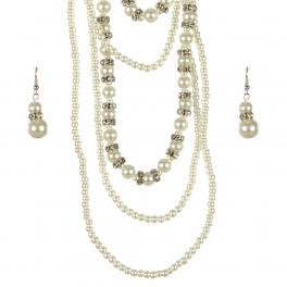 Wholesale L25E Layered faux mini pearl necklace set RH