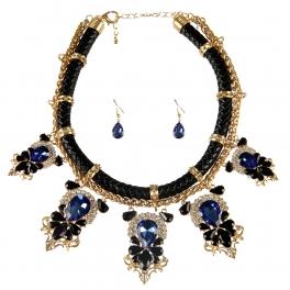 Wholesale L25E Faux leather stones necklace set GDSAP