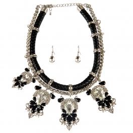 Wholesale L25E Faux leather stones necklace set RHCL