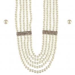 Wholesale L25D Multi layered pearl necklace set RH