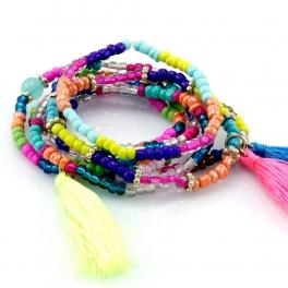 Wholesale M12B Multicolored beads and tassel bracelet GMT