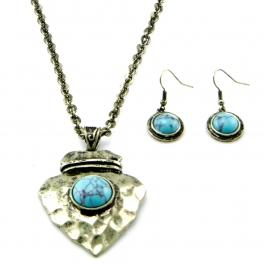 Wholesale M12E TQ accent hammered metal necklace set GB