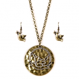 Wholesale L21E Hammered metal dove necklace set GB