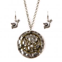 Wholesale L21E Hammered metal dove necklace set SB