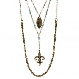 Wholesale M12D Multi layered fleur de lis necklace GB