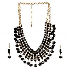 Wholesale N36E Solid beads necklace set BLACK fashionUnic