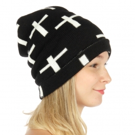 wholesale S56 Hand made cross ribbed knit beanie BK