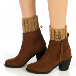 Wholesale BX00 Pop corn weave with buckle boot toppers Taupe