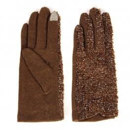 Wholesale S59 Wool gloves with metallic yarn Brown