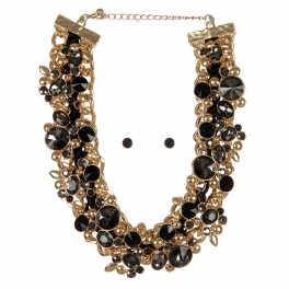 Wholesale Cluttered stone necklace set GDBKD